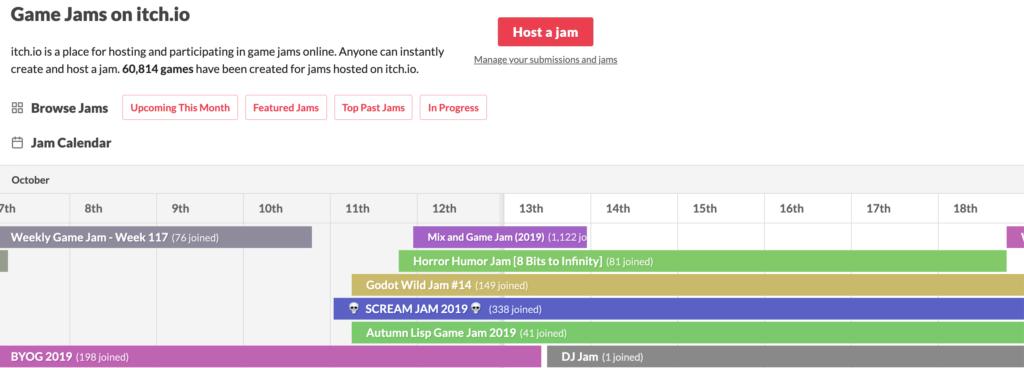 Game Jams calendar
